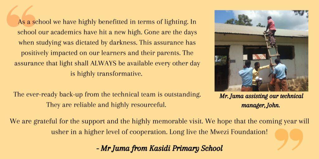 A quotation from Mr. Juma, a teacher at Kasidi Primary School.